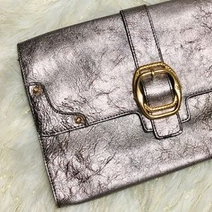 Jessica Simpson Metallic Grey Gold Big Clutch